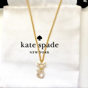 Last one!Kate Spade Pave Bow Cat Pendant Necklace